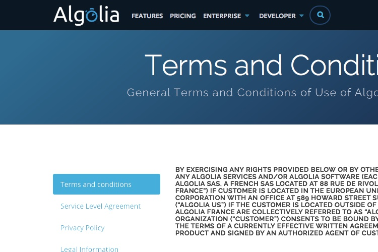 Screenshot of Algolia Terms and Conditions