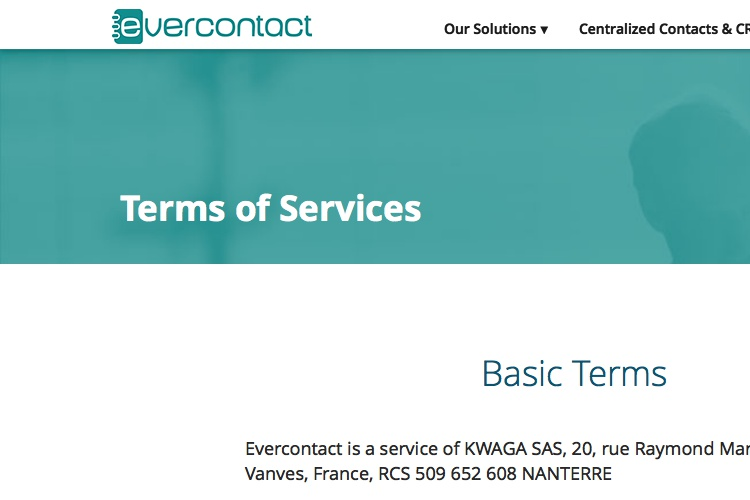 Screenshot of Evercontact terms of service