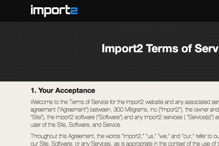 Screenshot of Import2 Terms of Service