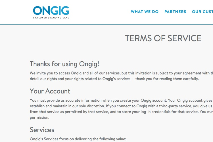 Screenshot of Ongig Terms Of Service