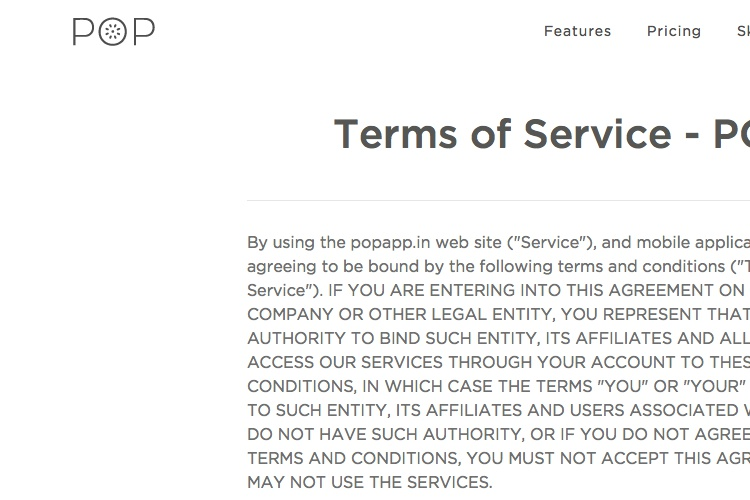 Screenshot Of POPAPP Terms Service
