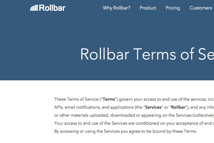Screenshot of Rollbar Terms of Service