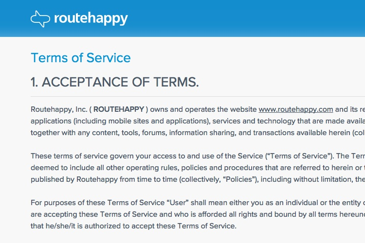 Terms Of Use Routehappy
