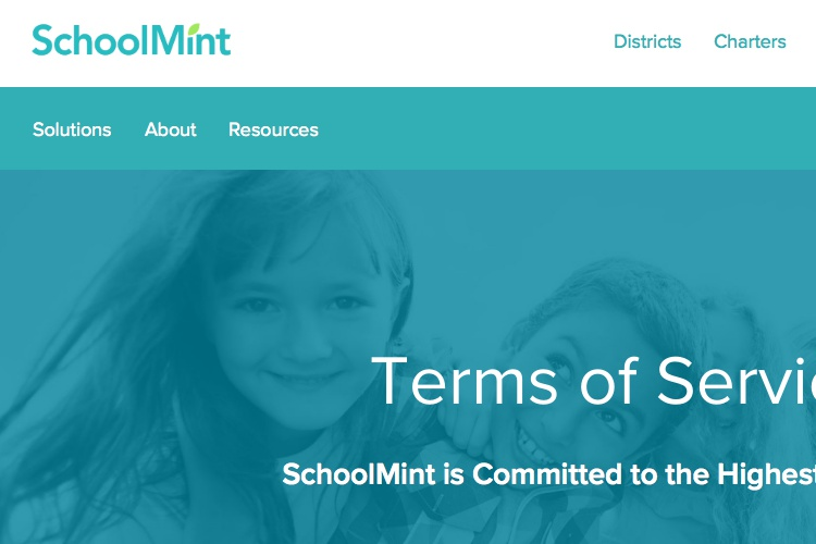 Screenshot of SchoolMint Terms of Service