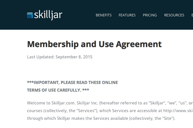 Screenshot of Skilljar Terms