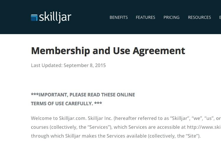 Screenshot of Skilljar Terms