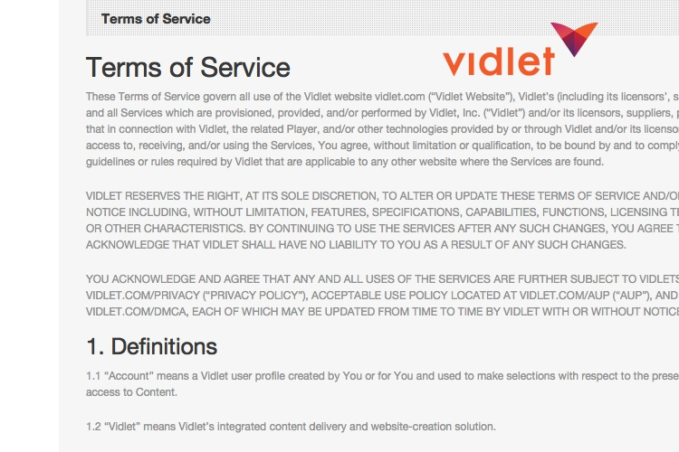 Screenshot of Vidcaster Terms of Service