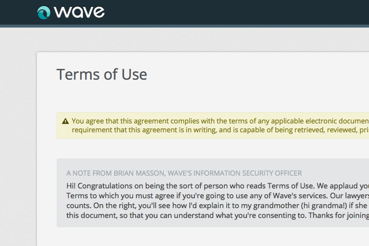 Screenshot of Wave Accounting Terms of Use