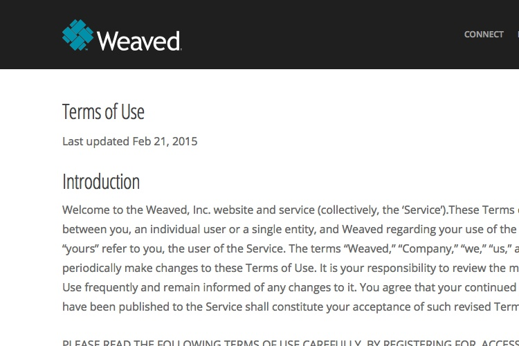 Screenshot of Weaved Terms of Use