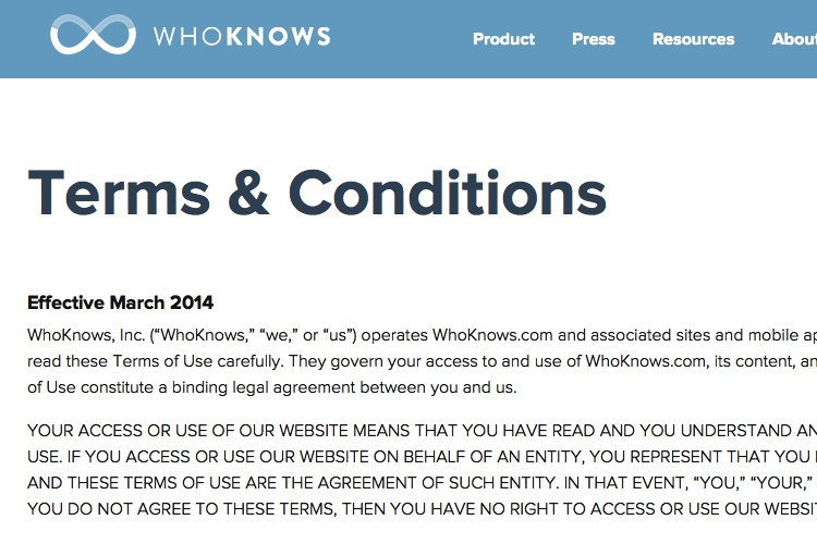 screenshot of whoknows terms conditions