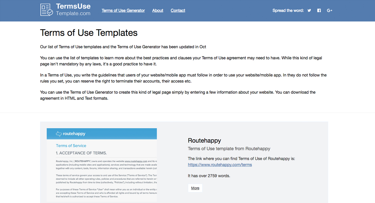 2020 Terms Of Use Template Generator